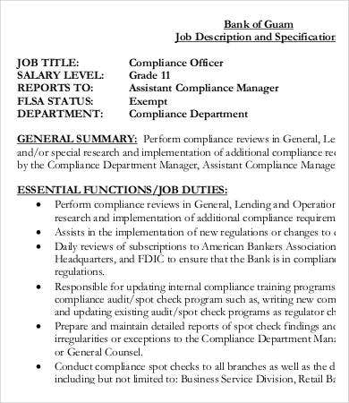 bank compliance officer job description