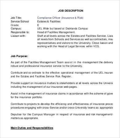 Risk management job description job description graduate - Compliance officer bank job description ...