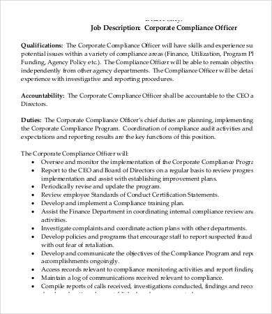 Compliance Officer Job Description   Free Word Excel Pdf
