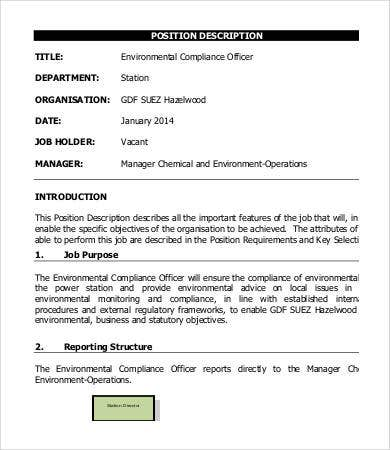 environmental compliance officer job description