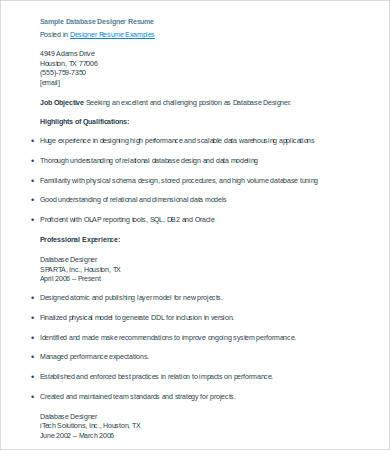 database designer resume