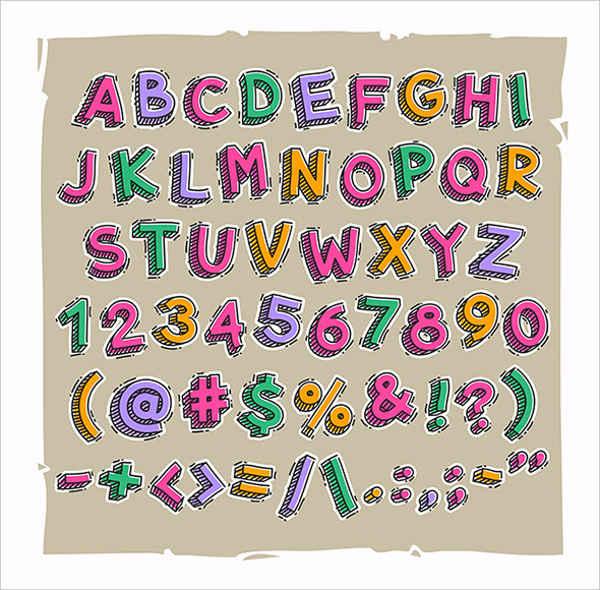 Sketch 3D Letter Font