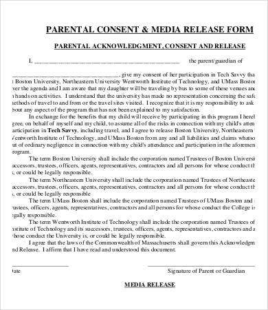 Media Release Form Template   Free Sample Example Format  Free