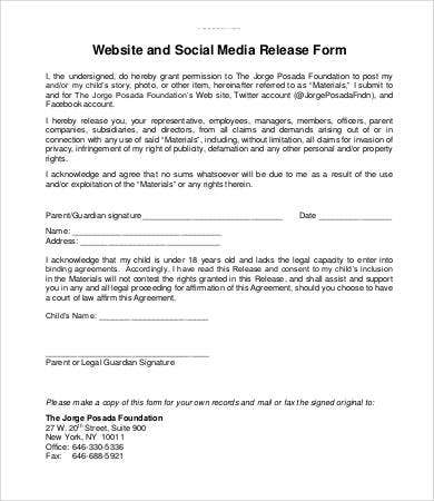 Media release form template 8 free sample example format free social media release form template maxwellsz