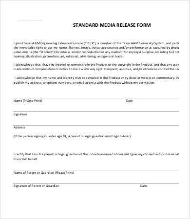 Media release form template 8 free sample example for Standard model release form template