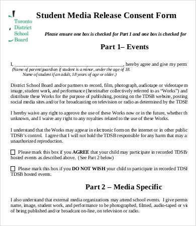 Media Release Form Template   Free Sample Example Format