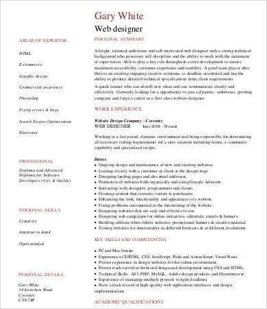 web designer resume template - Web Designer Resume Samples