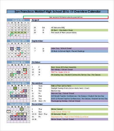 school project calendar template