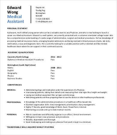 Sample Medical Assistant Resume 9 Free Sample Example Format Free Premium Templates