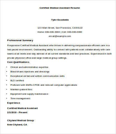 Certified Medical Assistant Resume Sample