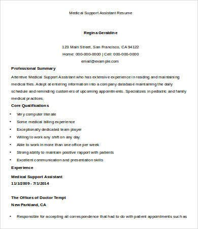 sample medical assistant resume 9 free sample example