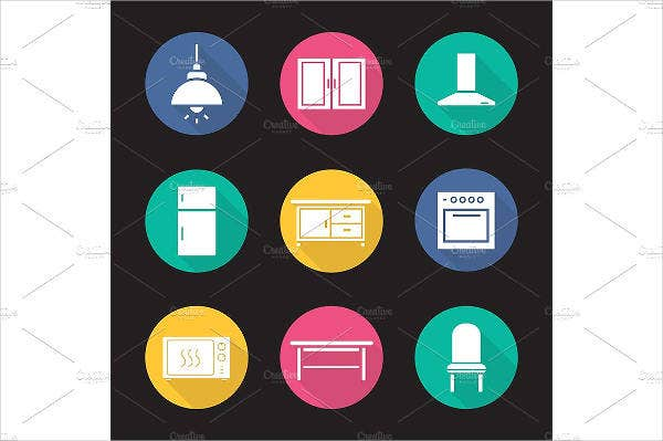 kitchen-interior-icons-set