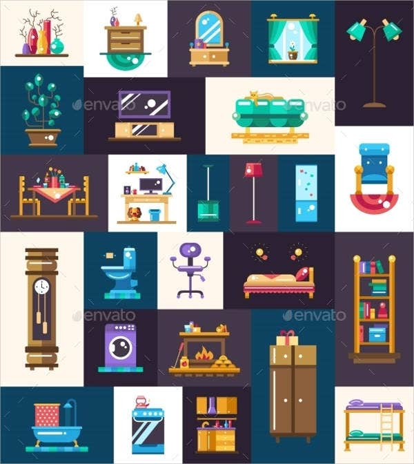 domestic-interior-furniture-icons