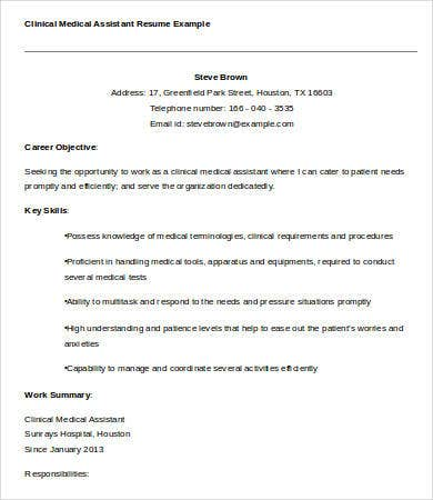 clinical medical assistant resume example