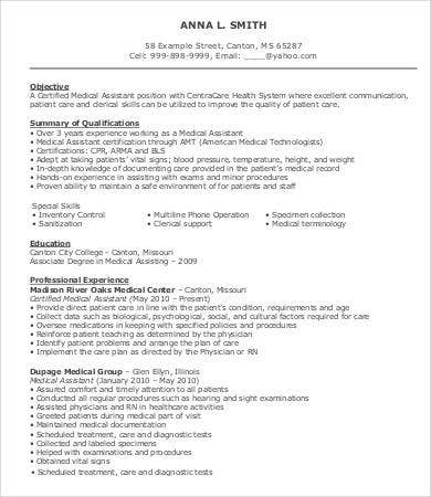 Sample Medical Assistant Resume   Free Sample Example Format