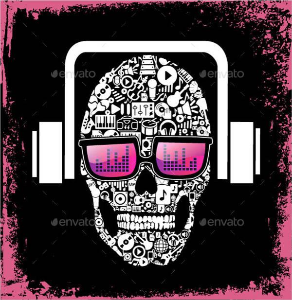 music-skull-vector