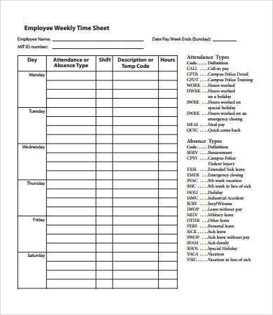Weekly Timesheet - 8+ Free Pdf Documents Download | Free & Premium