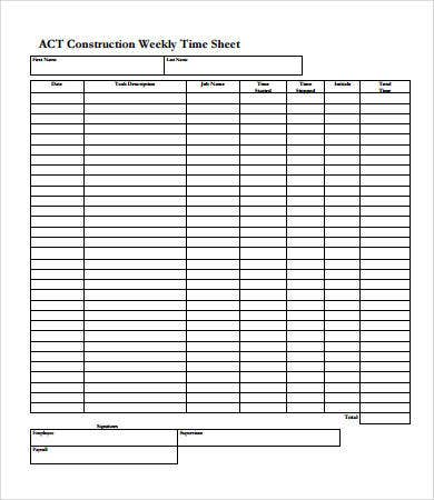 construction weekly time sheet template