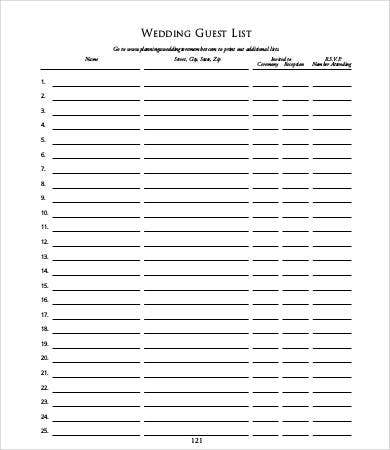 Nice Wedding Guest List Template Intended Guest List Template For Wedding
