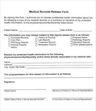 Beautiful Blank Medical Records Release Form Inside Medical Record Form Template