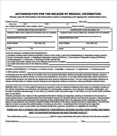 Etonnant Generic Medical Records Release Form