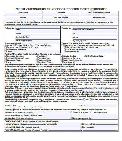 patient medical records release form