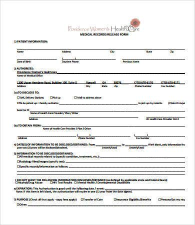 Printable Medical Form Printable Medical Records Release Form