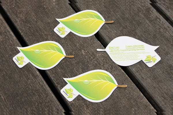 Green Die-Cut Business Card