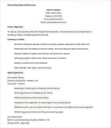 internship accounting resume sample