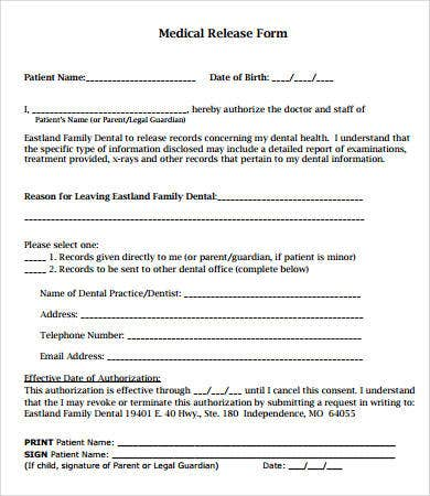 Dental Medical Records Release Form