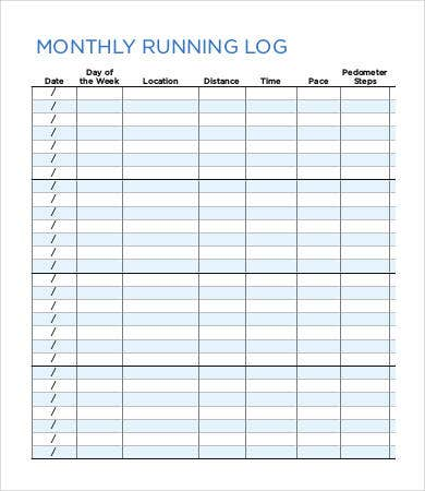Monthly Running Log Template
