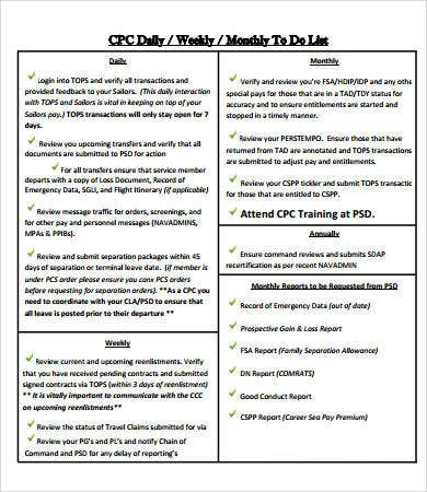 monthly to do checklist template