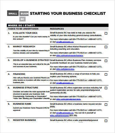 business to do checklist sample