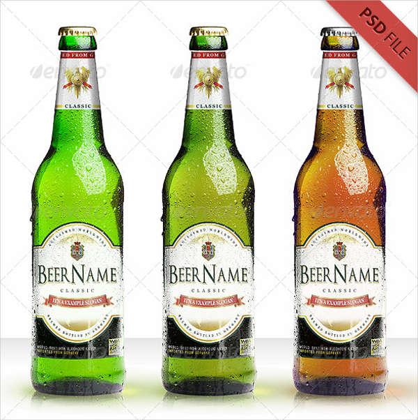 realistic beer bottle mockup