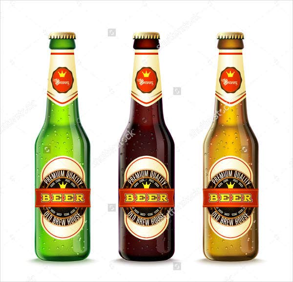 Realistic Green and Brown Beer Bottles