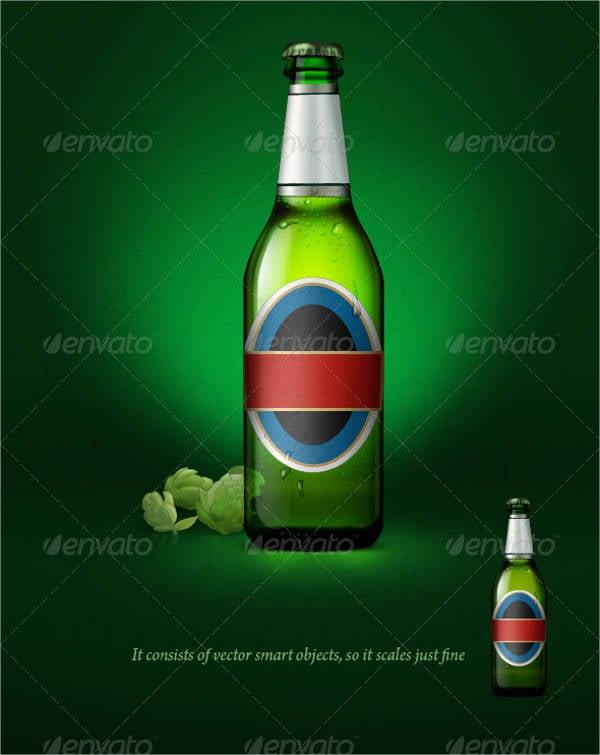 transparent beer bottle