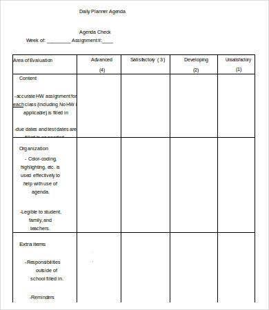 Daily Agenda Templates   Free Word Pdf Documents Download