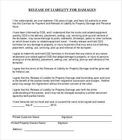 Damages Release Of Liability Form Template