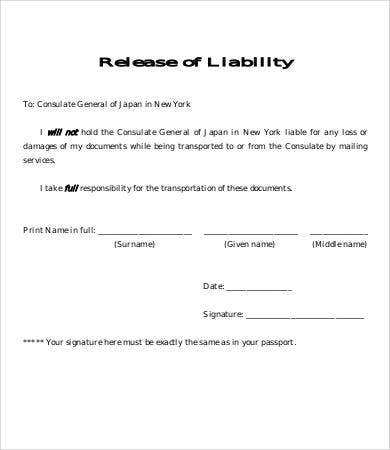 Release Of Liability Form Template   Free Sample Example