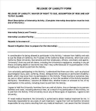 Internship Release Of Liability Form Template