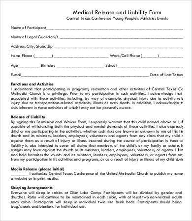 Medical Release Of Liability Form Template  Legal Liability Waiver Form