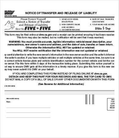 Notice Of Transfer And Release Liability Form Template