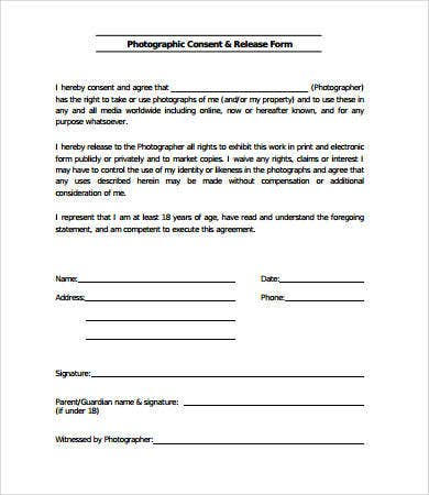 Photographer Release Forms. Photography Release Form Template ...