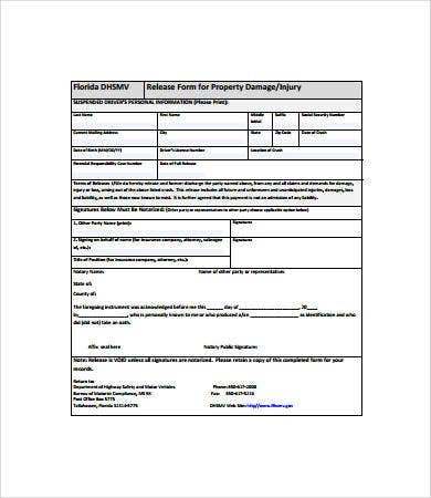 property damage release form sample