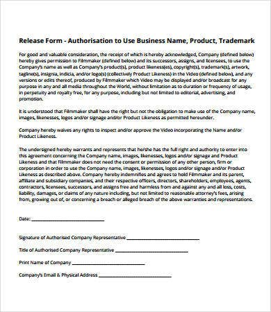 business release form template
