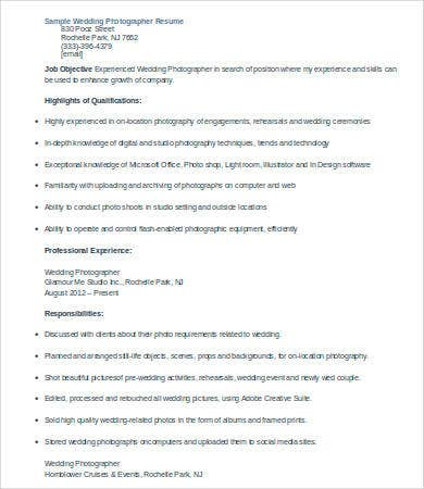 9+ Photographer Resumes - Free Sample, Example, Format | Free
