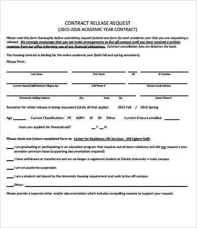 contract release form template