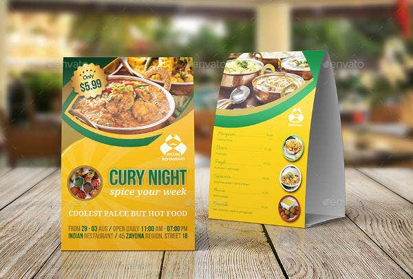 Spoicy Restaurant Table Tent Template