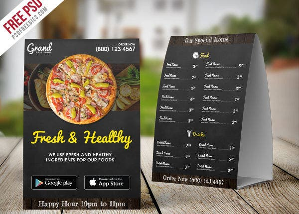 Restaurant Menu Table Tent Free PSD