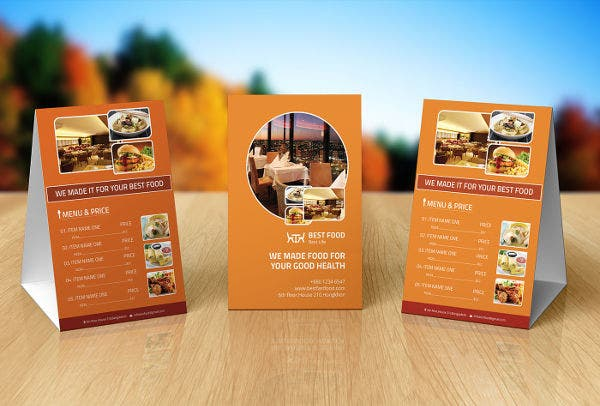 Food Menu Table Tent Design